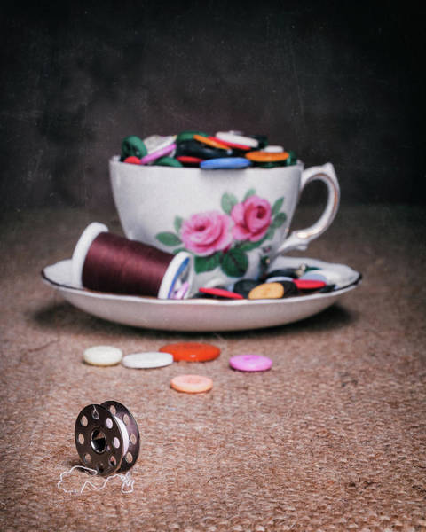 Saucer Photograph - Bobbin And Buttons by Tom Mc Nemar