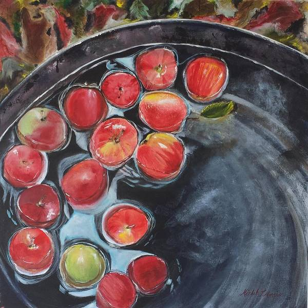 Bobbing For Apples Wall Art - Painting - Bobbing For Apples by Michele Morris
