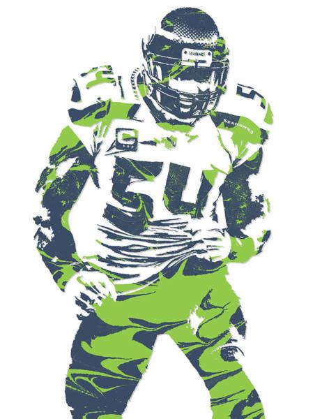 Seattle Seahawks Wall Art - Mixed Media - Bobby Wagner Seattle Seahawks Pixel Art 1 by Joe Hamilton