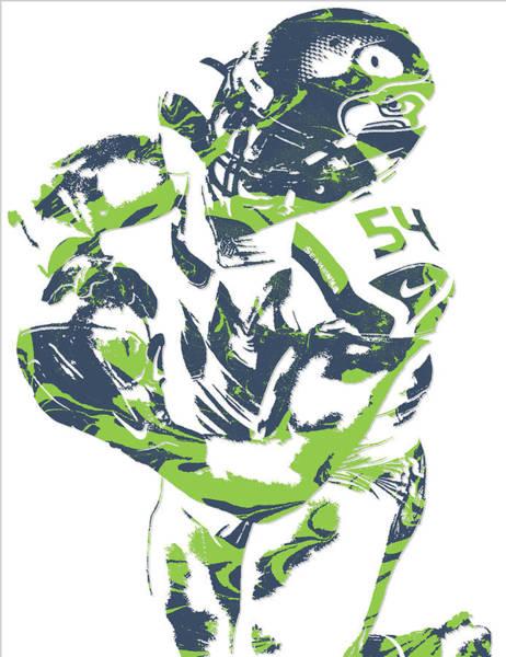 Seattle Seahawks Wall Art - Mixed Media - Bobby Wagner Seattle Seahawks Pixel Art 2 by Joe Hamilton