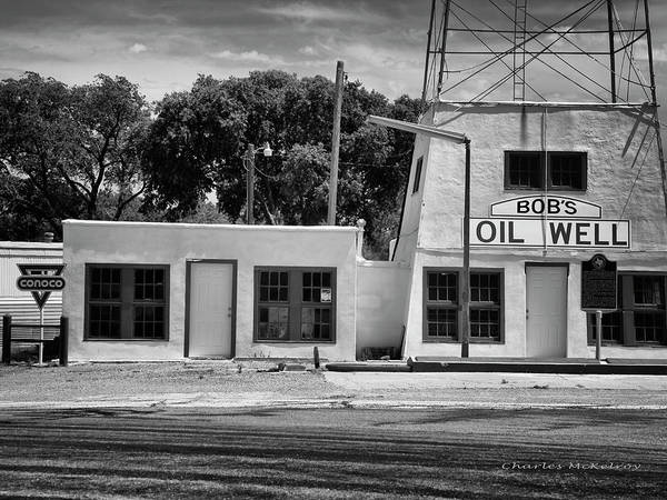 Photograph - Bob's Oil Well Bnw by Charles McKelroy