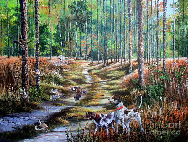 German Pointer Painting - Bobwhite Quail Hunting- A Southern Pastime by Daniel Butler