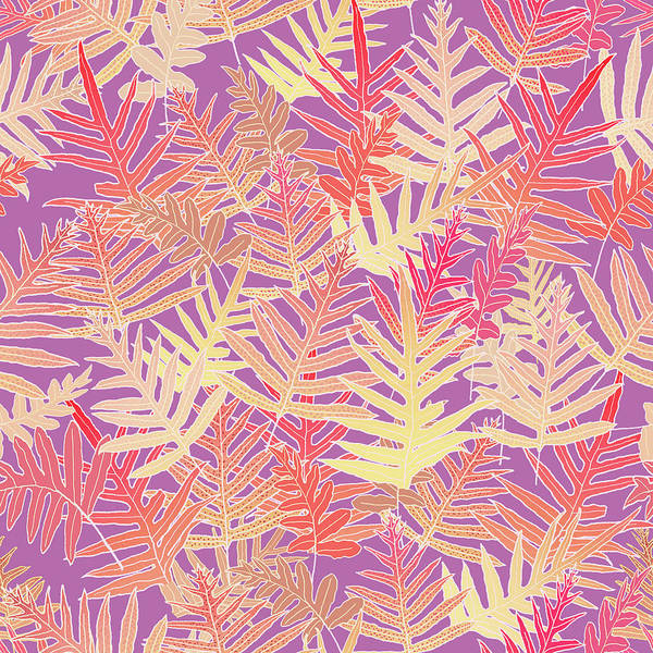 Digital Art - Bodacious Ferns Gold by Karen Dyson