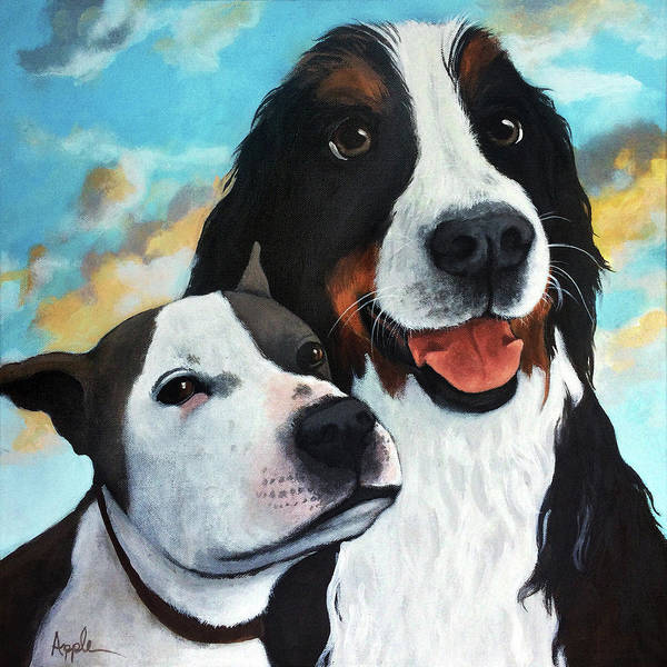 Wall Art - Painting - Bodhi And Lily  Pet Portrait by Linda Apple