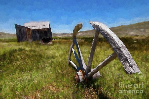 Bodie Painting - Bodie California Ghost Town Buried Wagon Wheel Ap by Dan Carmichael