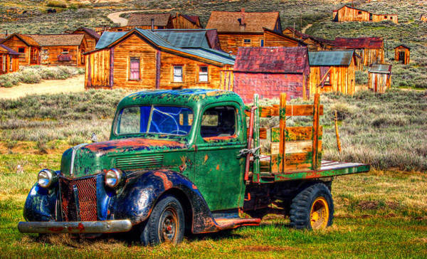Gold Rush Wall Art - Photograph - Bodie Ghost Town Green Truck by Scott McGuire