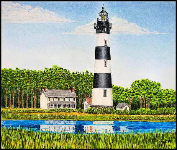 Beach Grass Drawing - Bodie Island Lighthouse by Chad Brittain