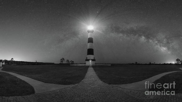 Wall Art - Photograph - Bodie Island Light Milky Way Pano Bw by Michael Ver Sprill
