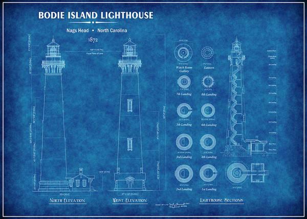 Bodie Digital Art - Bodie Island Lighthouse Blueprint by Daniel Hagerman