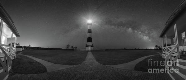 Wall Art - Photograph - Bodie Island Lighthouse Milky Way Pano Bw by Michael Ver Sprill