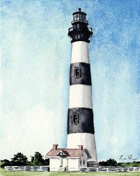 Outer Banks Painting - Bodie Island Lighthouse Outer Banks North Carolina by Laura Row