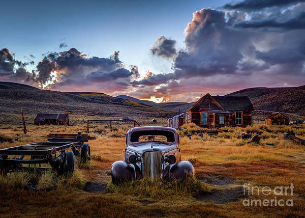Mono Photograph - Bodie's 1937 Chevy At Sunset by Jeff Sullivan