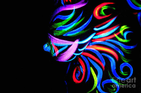 Blacklight Painting - Body Art Breast by Thomas Oliver