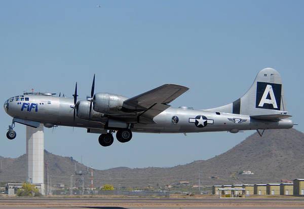 Superfortress Photograph - Boeing B-29 Superfortress N529b Fifi Take-off Deer Valley Airport April 13 2011 by Brian Lockett
