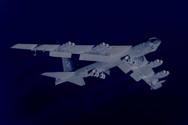 General Washington Mixed Media - Boeing B-52 Stratofortress Off On A Dangerous Night Mission by L Brown