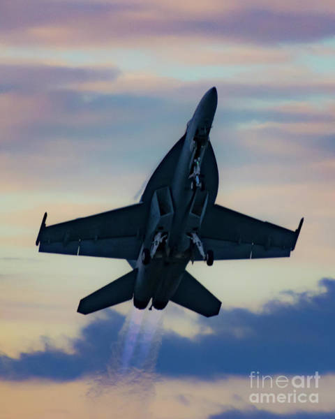 Vape Photograph - Boeing F/a-18e Rising On Twin Afterburners Into The Oregon Sunset by Joe Kunzler