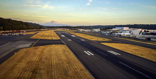 Runway Photograph - Boeing Field And Mount Rainier by Mike Reid