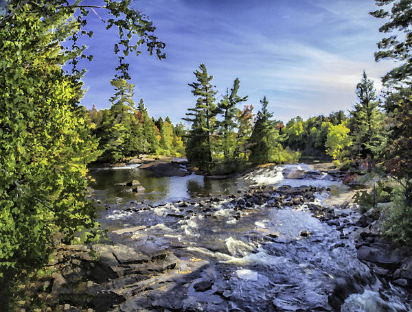 Photograph - Bog River Falls Panorama Abstract 01 by Jim Dollar