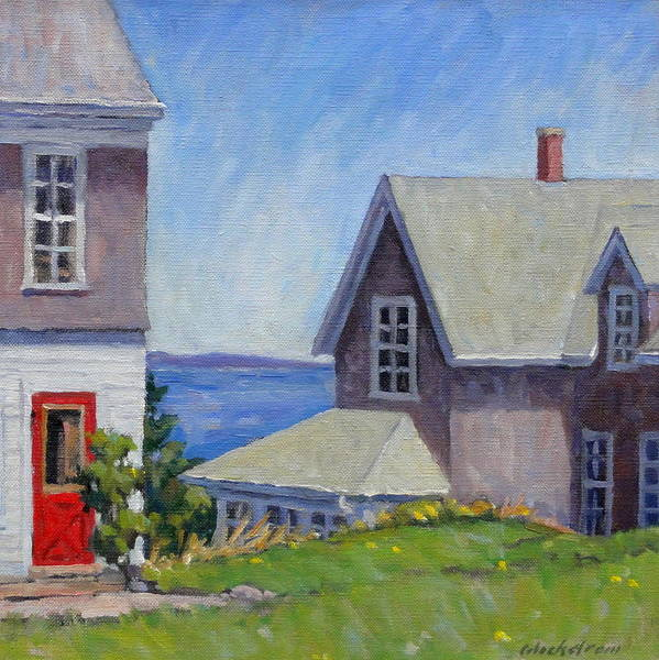 Linen Wall Art - Painting - Bogdanov House Monhegan by Thor Wickstrom