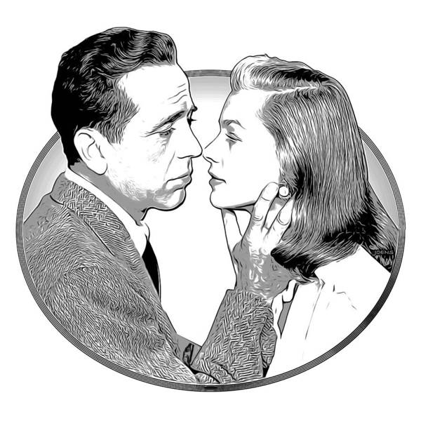 Wall Art - Drawing - Bogie And Bacall by Greg Joens