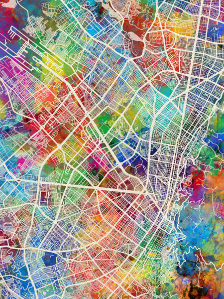 Colombia Wall Art - Digital Art - Bogota Colombia City Map by Michael Tompsett