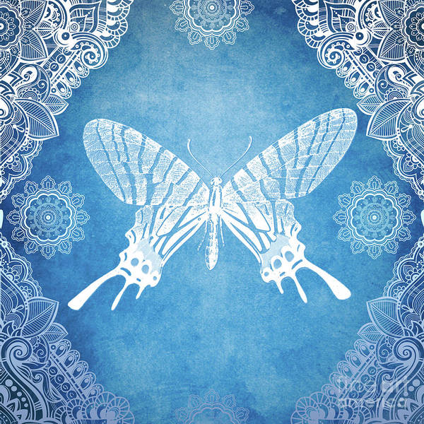 Mixed Media - Bohemian Ornamental Butterfly Deep Blue Ombre Illustration by Sharon Mau