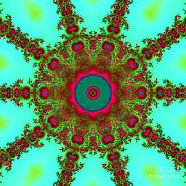 Digital Art - Bohemian Fractalscope Flower 5 In Green Fuchsia And Red by Rose Santuci-Sofranko