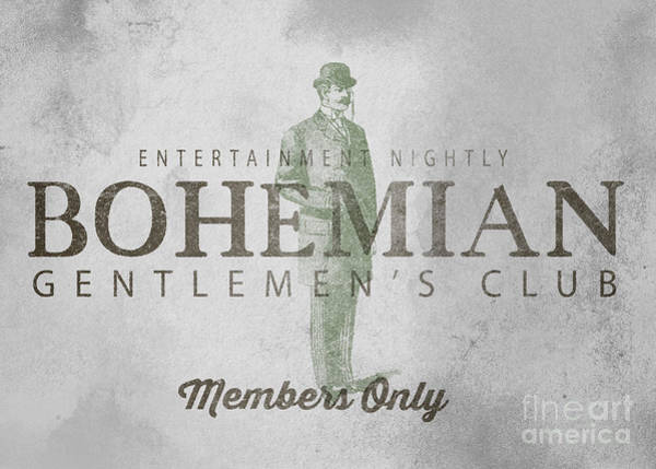 Gentleman Drawing - Bohemian Gentlemen's Club Sign by Edward Fielding