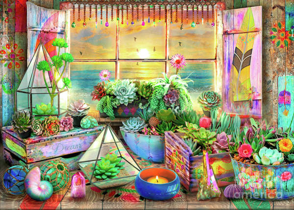 Wall Art - Digital Art - Bohemian Seaside View by MGL Meiklejohn Graphics Licensing