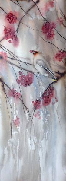 Wall Art - Painting - Bohemian Waxwing by Sarah Guy-Levar
