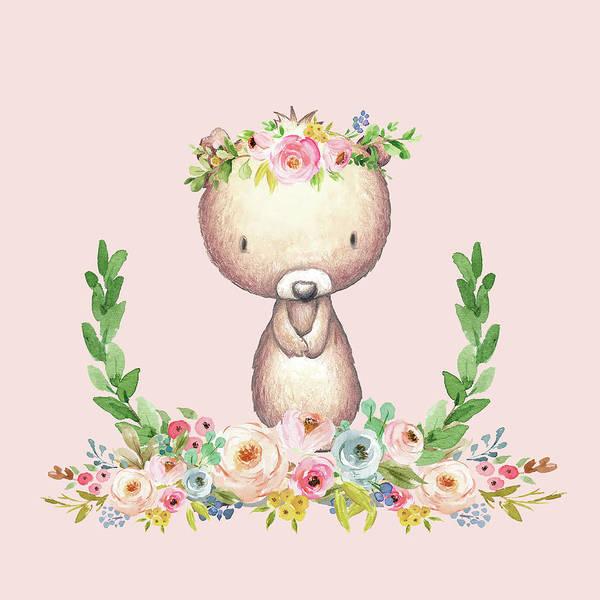 Woodland Digital Art - Boho Bear Blush Nursery Pillow Wall Art Mug Woodland Decor by Pink Forest Cafe