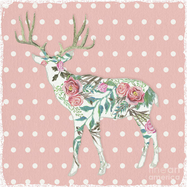 Wall Art - Painting - Boho Deer Silhouette Rose Floral Polka Dot by Audrey Jeanne Roberts