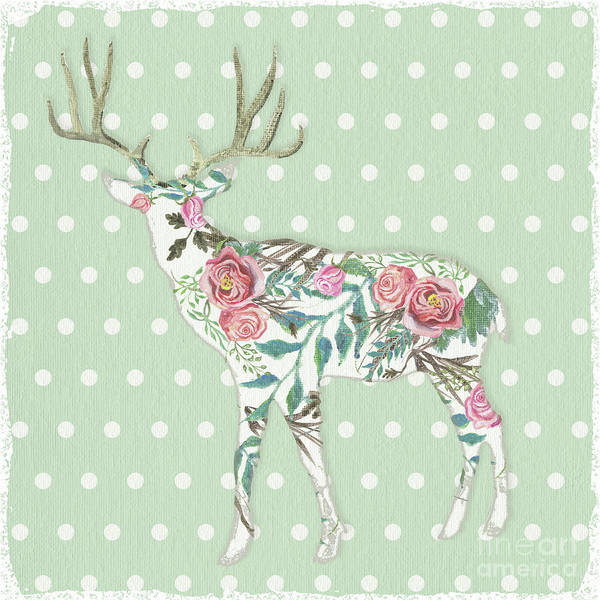 Wall Art - Painting - Boho Deer Silhouette Rose Floral Polka Dot Sage Green by Audrey Jeanne Roberts