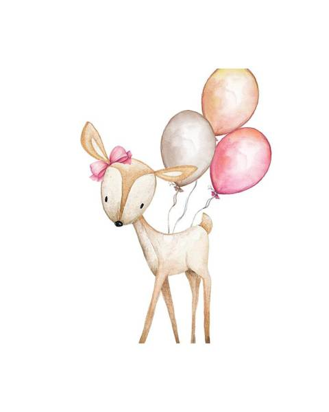 Woodland Digital Art - Boho Deer With Balloons by Pink Forest Cafe