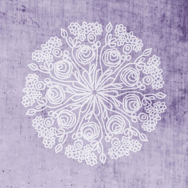 Lavender Wall Art - Mixed Media - Boho Floral Mandala 1- Art By Linda Woods by Linda Woods