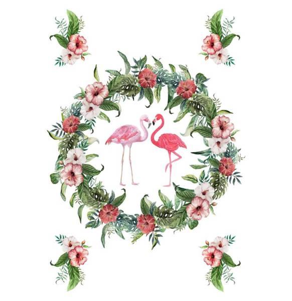 Digital Art - Boho Floral Tropical Wreath Flamingo by Georgeta Blanaru