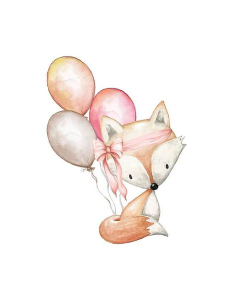 Foxes Digital Art - Boho Fox With Balloons by Pink Forest Cafe