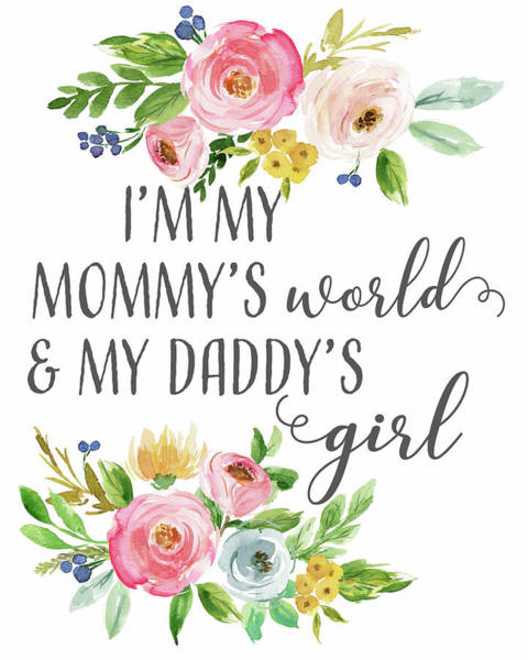 Baby Room Wall Art - Digital Art - Boho Mommy's World Daddy's Girl by Pink Forest Cafe