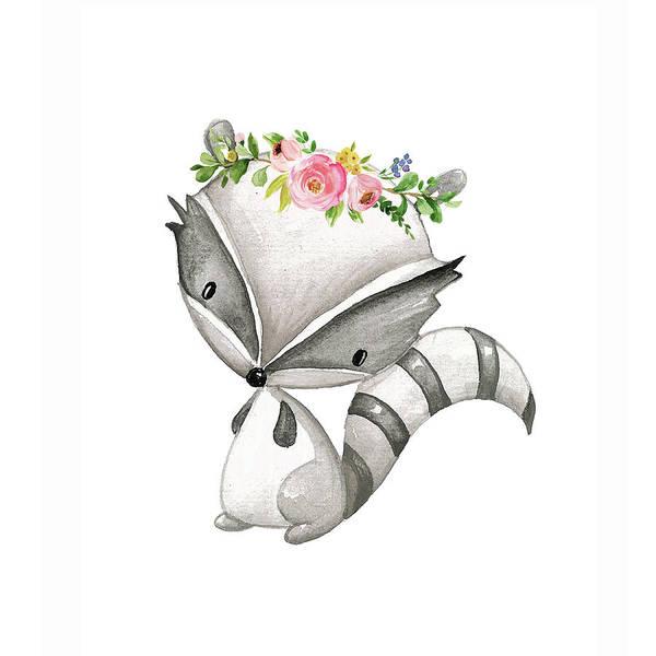 Custom Digital Art - Boho Raccoon - Custom Order by Pink Forest Cafe