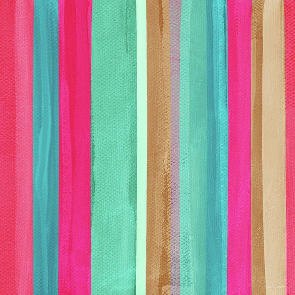 Pink Mixed Media - Boho Stripe- Art By Linda Woods by Linda Woods