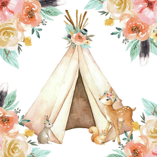 Wall Art - Digital Art - Boho Teepee Deer Bunny Woodland Baby Nursery Pillow Wall Art Print by Pink Forest Cafe