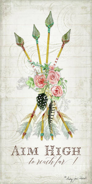 Wall Art - Painting - Boho Western Arrows N Feathers W Wood Macrame Feathers And Roses Aim High by Audrey Jeanne Roberts