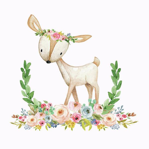 Woodland Digital Art - Boho Woodland Baby Nursery Deer Floral Watercolor Print by Pink Forest Cafe