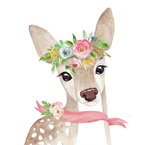 Woodland Digital Art - Boho Woodland Deer With Ribbon by Pink Forest Cafe