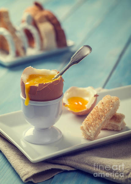 Wall Art - Photograph - Boiled Egg With Spoon by Amanda Elwell