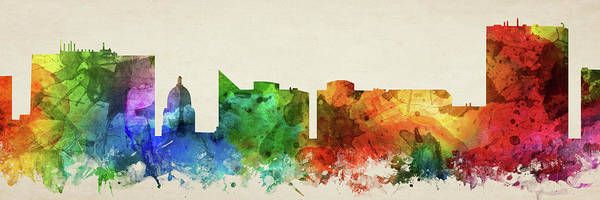Wall Art - Digital Art - Boise Skyline Panorama Usidbo-pa03 by Aged Pixel