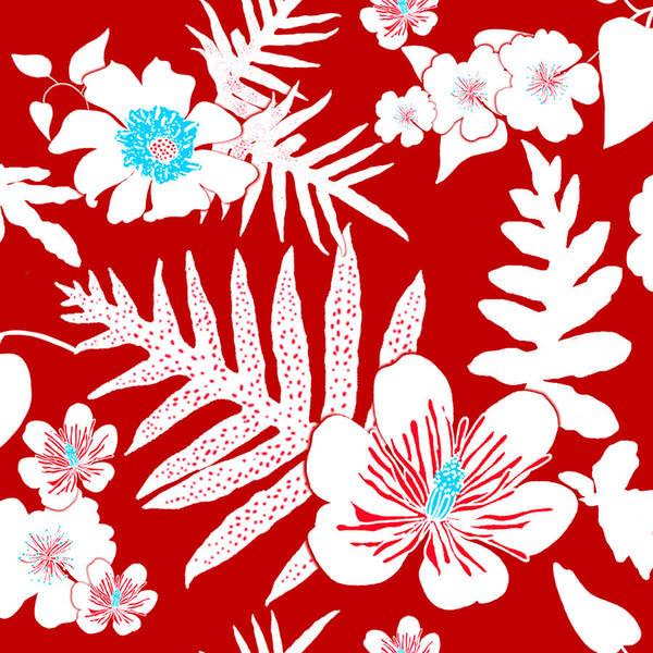 Digital Art - Bold Fern Floral - Red by Karen Dyson