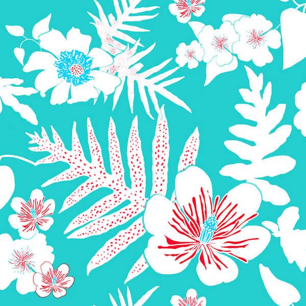 Digital Art - Bold Fern Floral - Turquoise by Karen Dyson