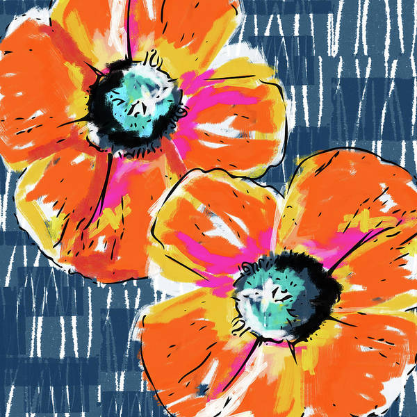 Floral Mixed Media - Bold Orange Poppies- Art By Linda Woods by Linda Woods