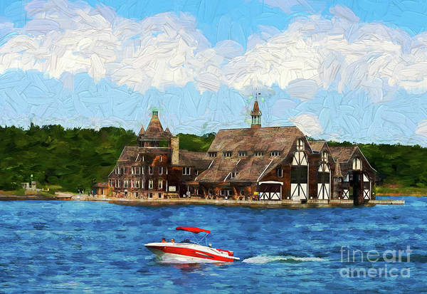 Photograph - Boldt Yacht House - Painterly by Les Palenik
